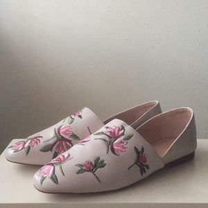 ZARA Embroidered Flower Flats